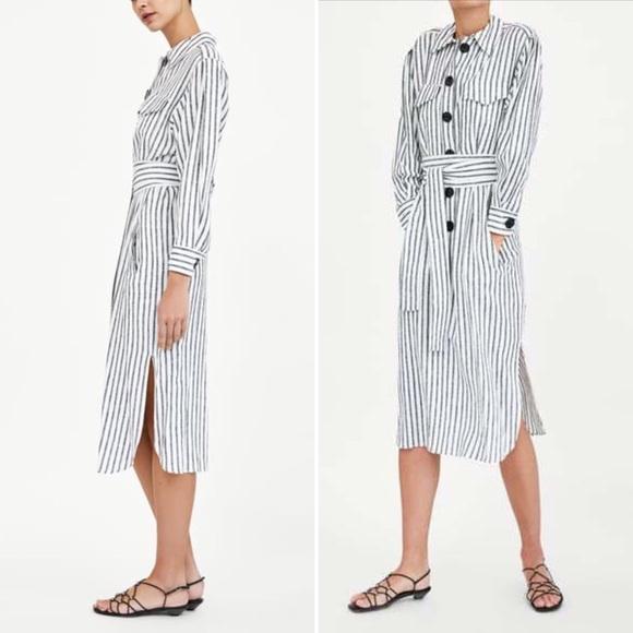 97557a25a4b Zara Woman Linen Blend Striped Midi Shirt Dress XS.  M 5bbbcedabaebf62f01e63d66